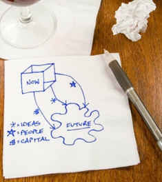 Business marketing planning on a napkin